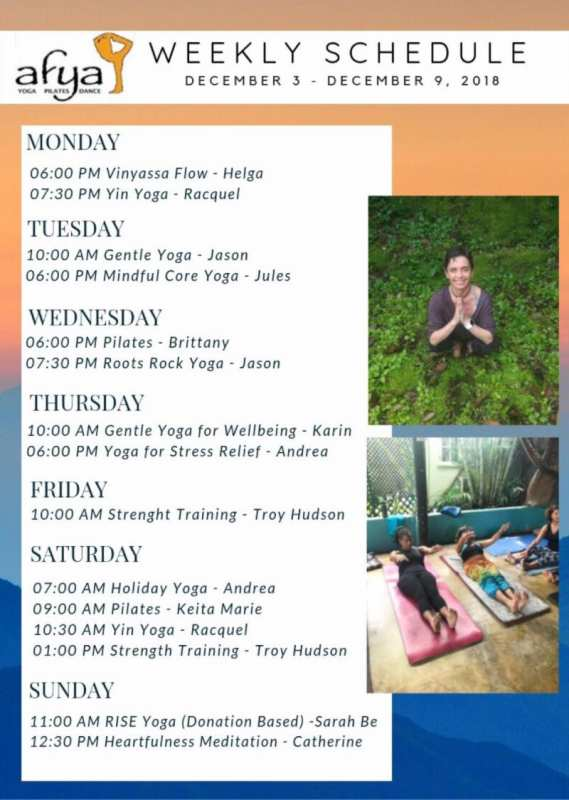 Afya Yoga Studios Weekly Sessions